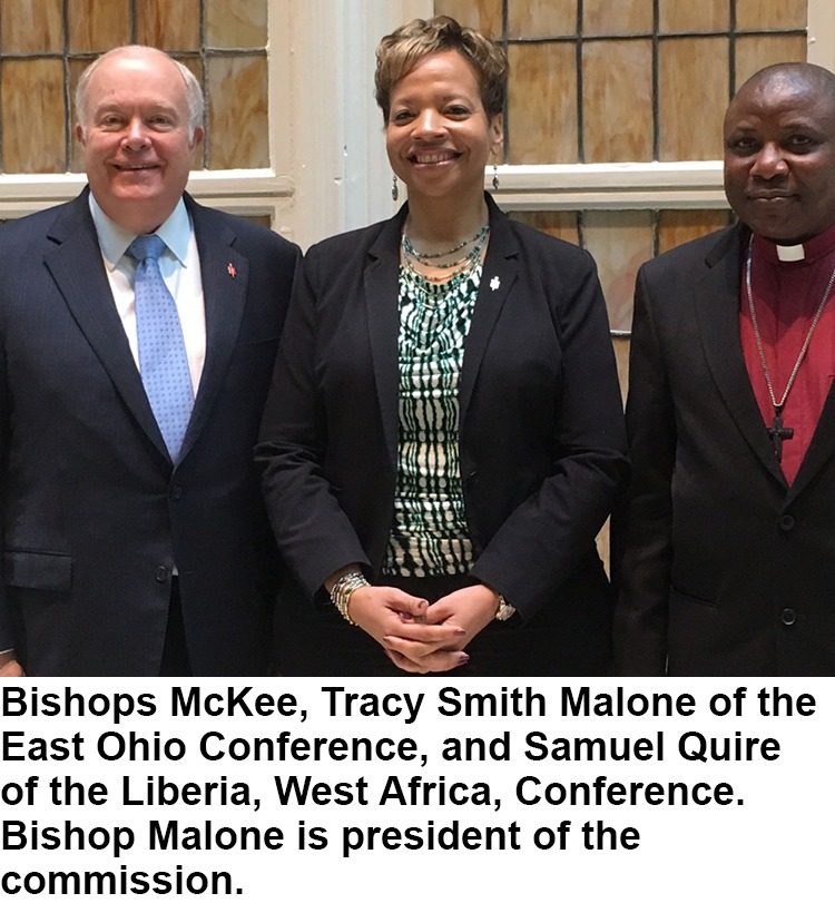 Bishops McKee, Tracy Smith Malone and Samuel Quire