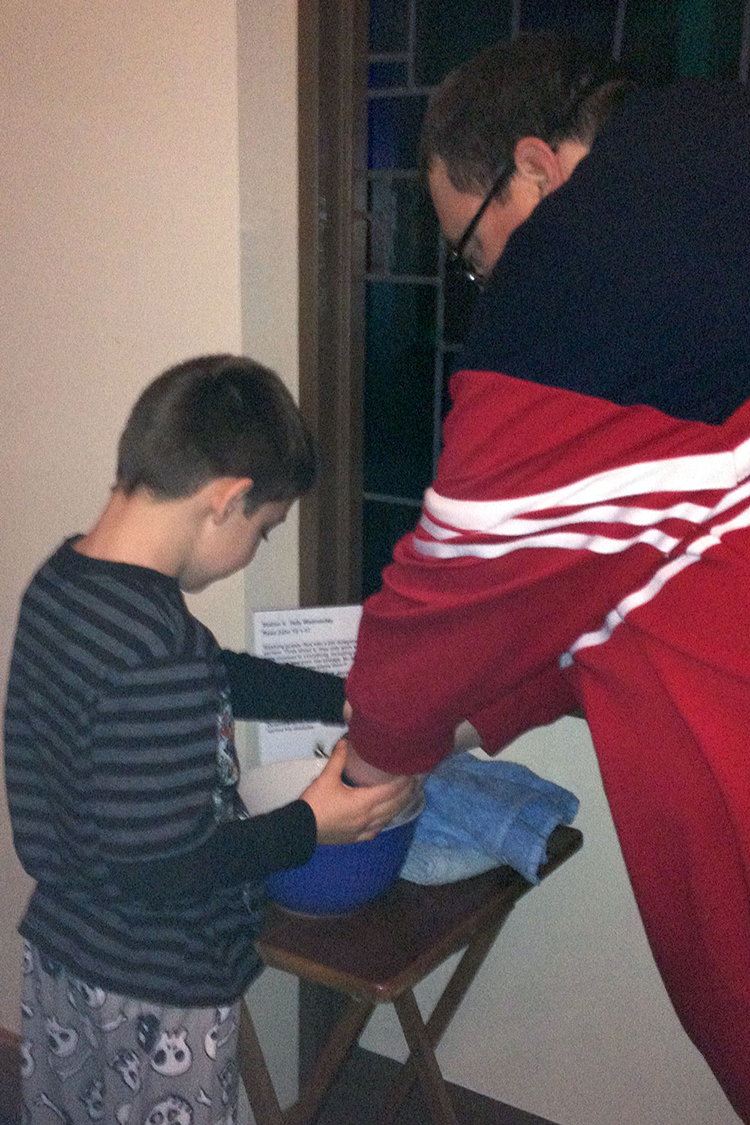 Father son hand washing