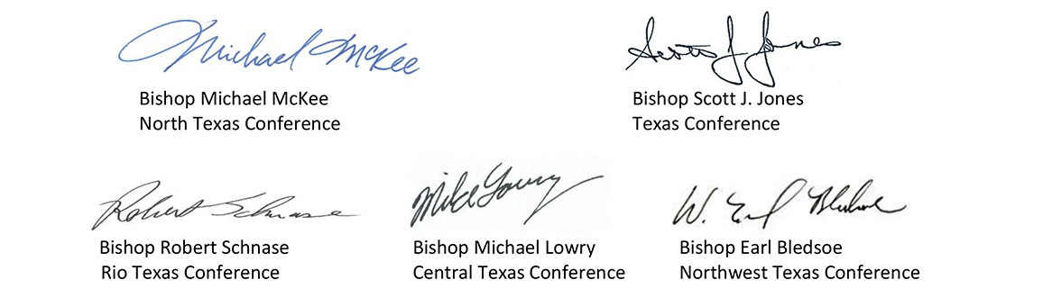 Signatures of five Conference bishops