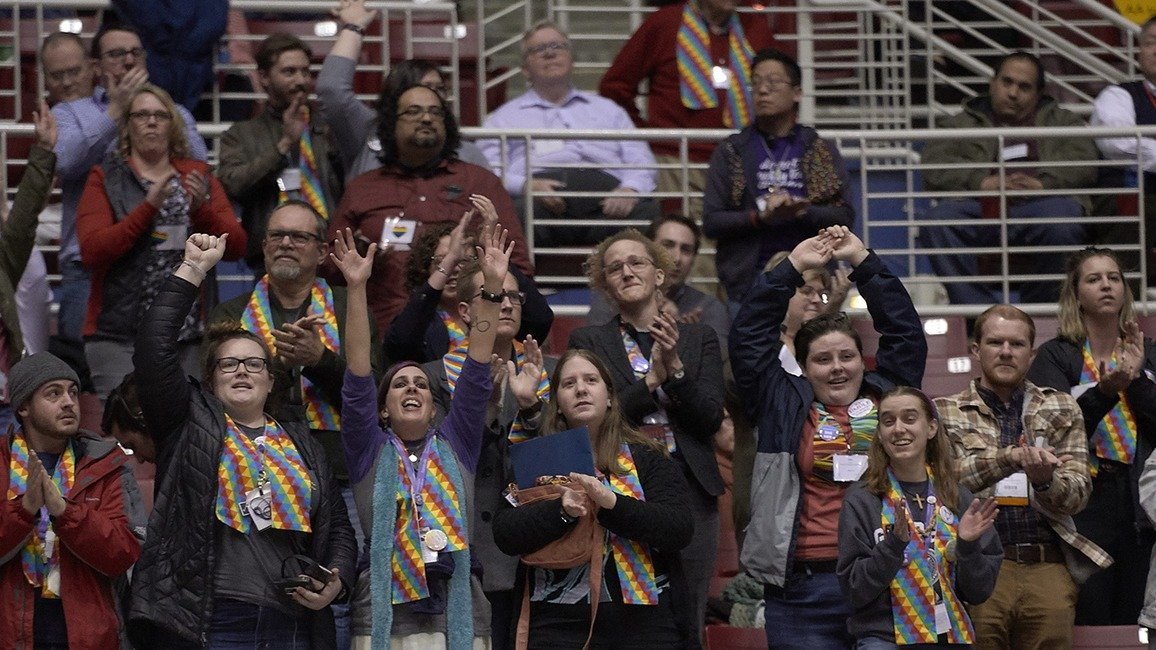 Supporters of full inclusion cheer at 2019 General Conference