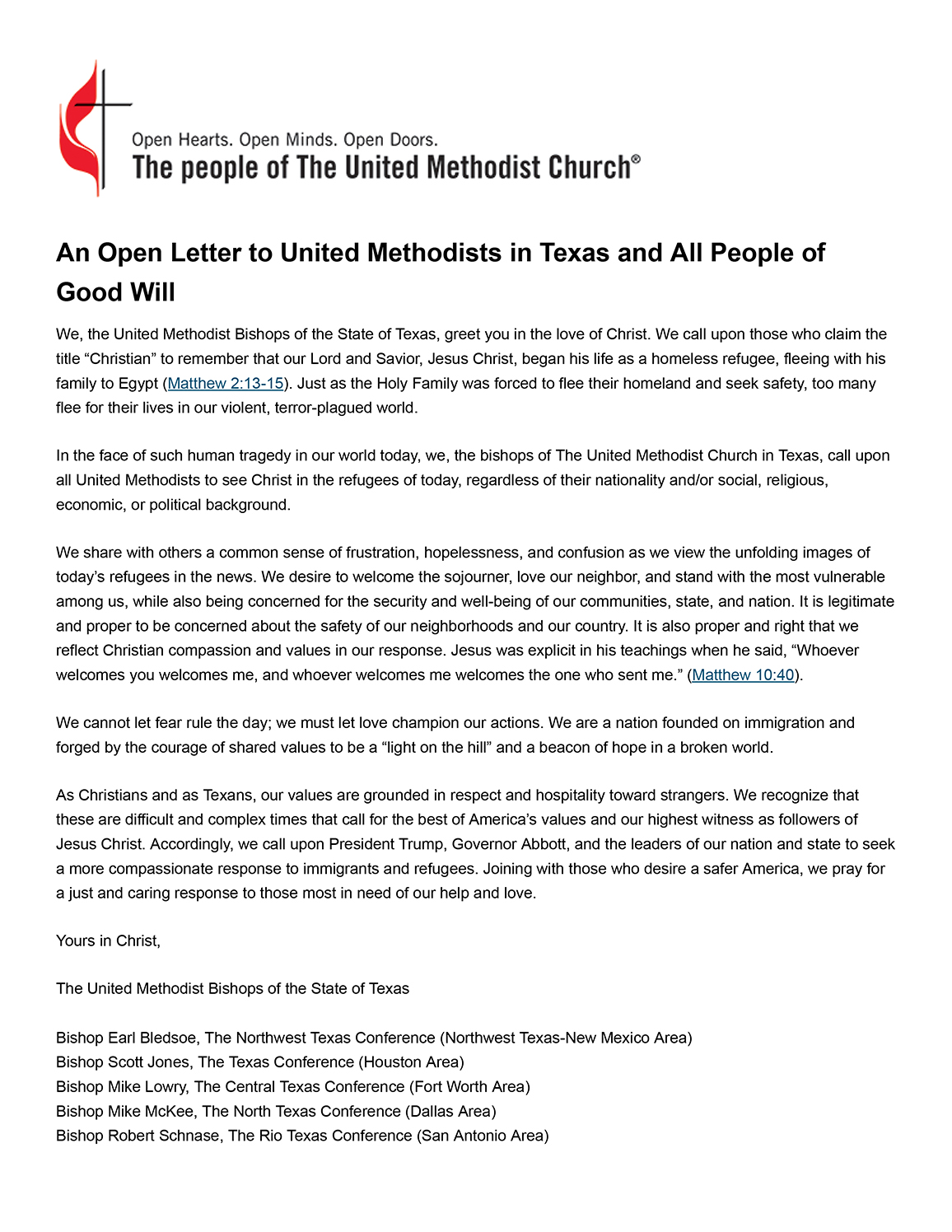 Bishops' Statement on Refugees