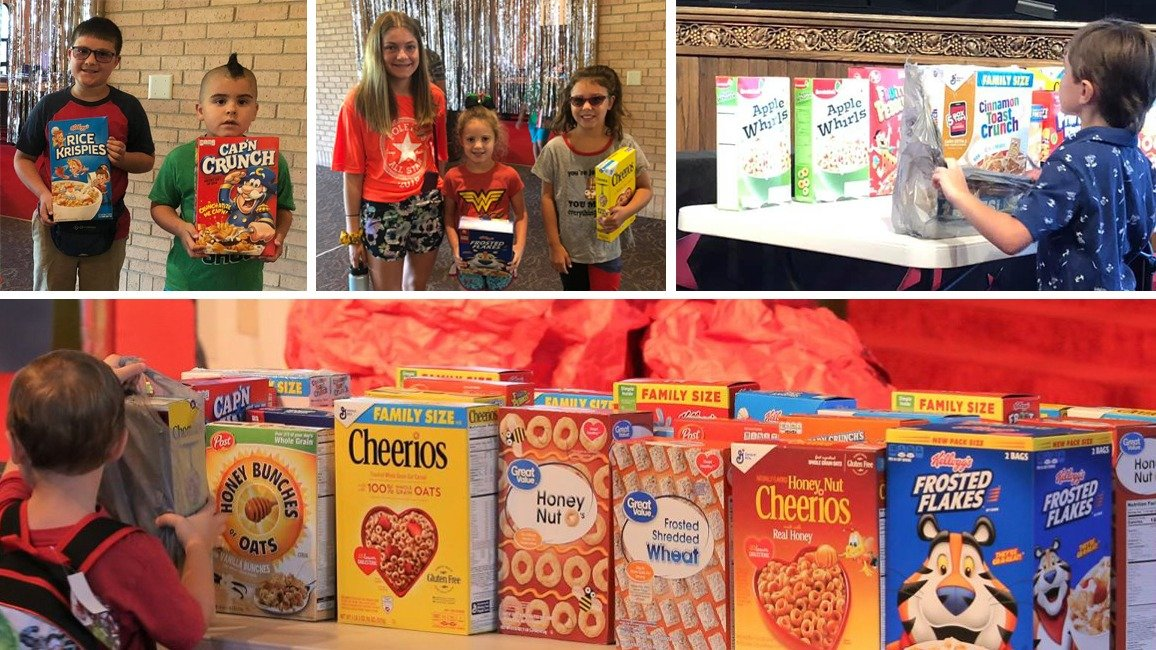 Kids donating cereal boxes