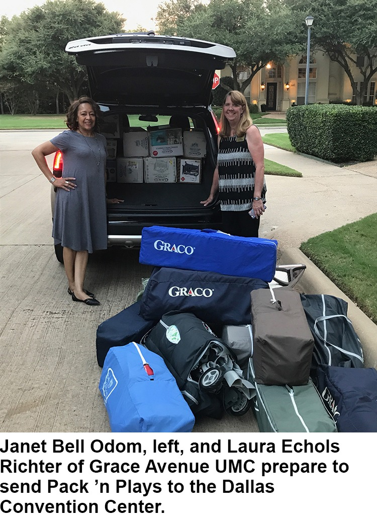 Janet Bell Odom, left, and Laura Echols Richter of Grace Avenue UMC prepared to send Pack 'n Plays to the Dallas convention center.