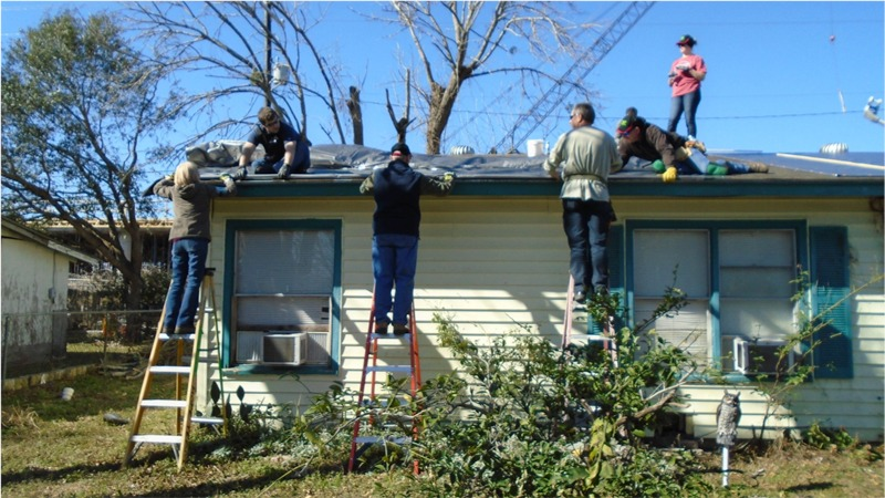 Mission trip fixing roof