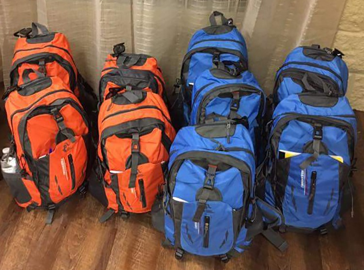 backpacks ready to go